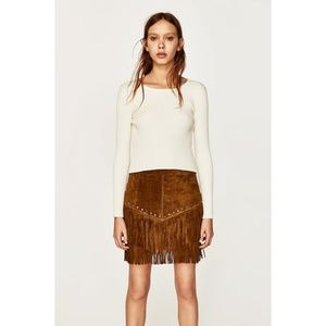 NWT Zara Brown Leather Suede Mini Skirt Fringes